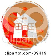 Clipart Illustration Of A Grungy Red And Orange Circular Home Sign