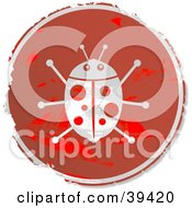 Clipart Illustration Of A Grungy Red Circular Ladybug Sign