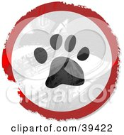 Clipart Illustration Of A Grungy Red White And Black Circular Paw Print Sign