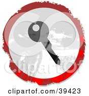 Clipart Illustration Of A Grungy Red White And Black Circular Key Sign by Prawny