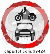 Clipart Illustration Of A Grungy Red White And Black Circular Car And Motorcycle Sign