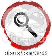 Clipart Illustration Of A Grungy Red White And Black Circular Magnifying Glass Sign