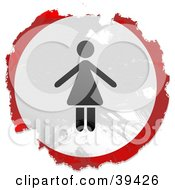 Clipart Illustration Of A Grungy Red White And Black Circular Woman Sign