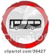 Grungy Red White And Black Circular Bus Sign