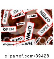 Clipart Illustration Of A Background Of Grungy Red And White Open Signs by Prawny
