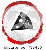 Clipart Illustration Of A Grungy Red White And Black Circular Pizza Slice Sign