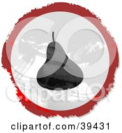 Clipart Illustration Of A Grungy Red White And Black Circular Pear Sign by Prawny