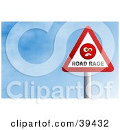 Red And White Triangular Road Rage Sign Against A Blue Sky With Clouds