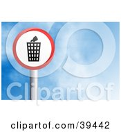 Clipart Illustration Of A Red And White Circular Trash Can Sign Against A Blue Sky With Clouds