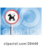 Clipart Illustration Of A Red And White Circular Dog On Leash Sign Against A Blue Sky With Clouds