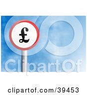 Clipart Illustration Of A Red And White Circular Pound Sign Against A Blue Sky With Clouds by Prawny