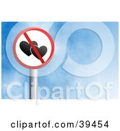 Clipart Illustration Of A Red And White Circular No Love Sign Against A Blue Sky With Clouds