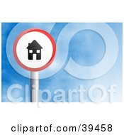 Clipart Illustration Of A Red And White Circular House Sign Against A Blue Sky With Clouds