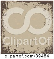 Clipart Illustration Of A Scratched Grungy Tan Background Bordered In Brown