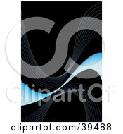 Clipart Illustration Of A Thin And Gradient Wave Of Blue With Faint Waves On A Black Background by Arena Creative