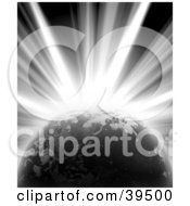 Clipart Illustration Of A Bright Burst Of Light Emerging From Behind Planet Earth