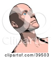 Clipart Illustration Of A Thoughtful Bald Man Looking Upwards