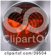 Clipart Illustration Of A Sonar Screen Flashing Red And Scanning Over An Atlas by Arena Creative
