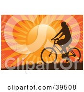 Clipart Illustration Of A Silhouetted Woman Riding A Bicycle On A Hill Against An Orange Sunset
