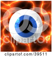 Clipart Illustration Of A Big Blue Eyeball Over A Fiery Background by Arena Creative