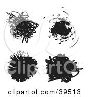 Clipart Illustration Of Four Black Doodles And Splatters