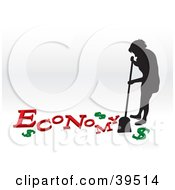 Clipart Illustration Of A Silhouetted Woman Sweeping Up The Economy Crisis