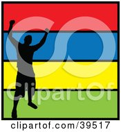 Clipart Illustration Of A Black Silhouetted Victorious Man Celebrating On A Colorful Background Trimmed In Black by Arena Creative