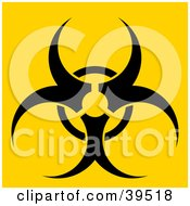 Clipart Illustration Of A Black Biohazard Warning Symbol On A Bright Yellow Background by Arena Creative
