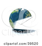 Clipart Illustration Of A White Envelope Flying Around Planet Earth by Frank Boston