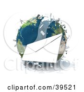 Clipart Illustration of International Mail Being Delivered All Over Planet Earth by Frank Boston #COLLC39521-0095