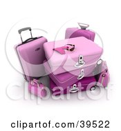 Clipart Illustration Of A Pair Of Gloves And Sunglasses On Top Of Stacked Pink Baggage by Frank Boston