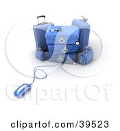Clipart Illustration Of A Computer Mouse Connected To Blue Baggage