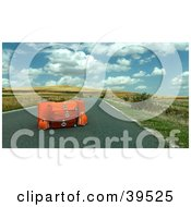 Orange Luggage In The Center Of A Roadway With Rolling Hills