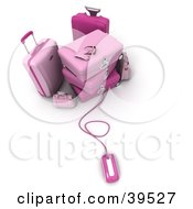Clipart Illustration Of A Computer Mouse Connected To Pink Suitcases