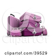 Clipart Illustration Of Stacked Pink Suitcases