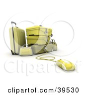 Clipart Illustration Of A Computer Mouse Connected To Yellow Suitcases