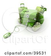 Clipart Illustration Of A Computer Mouse Connected To Green Suitcases