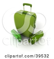 Clipart Illustration Of A Green Rolling Bag With A Briefcase by Frank Boston