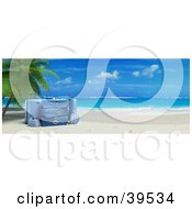 Blue Luggage Resting Under A Palm Tree On A Tropical Beach With White Sands And Blue Skies