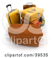 Sunglasses And Gloves Resting On Top Of Yellow And Orange Luggage