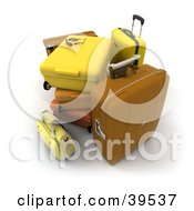 Stack Of Brown Orange And Yellow Suitcases