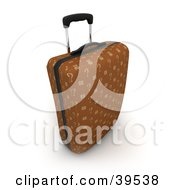 Brown Upright Rolling Suitcase With Question Mark Fabric