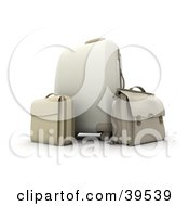 White Rolling Suitcase And Baggage