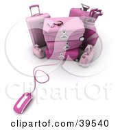 Clipart Illustration Of A Computer Mouse Connected To Pink Luggage