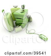 Clipart Illustration Of A Computer Mouse Connected To Green Baggage