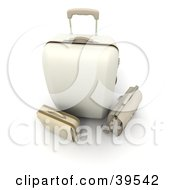 Clipart Illustration Of A White Rolling Suitcase With A Beige Bag And Briefcase
