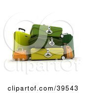 Clipart Illustration Of Yellow Orange And Green Suitcases by Frank Boston