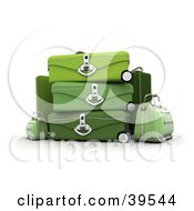 Clipart Illustration Of Green Suitcases Stacked At An Airport by Frank Boston
