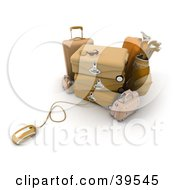Clipart Illustration Of A Computer Mouse Connected To Orange Suitcases by Frank Boston