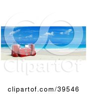 Clipart Illustration Of Red Suitcases On White Sands Of A Tropical Beach